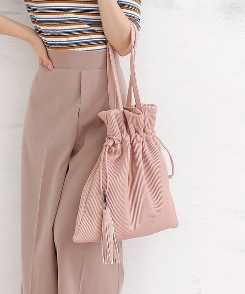 [BASE] プリーツ巾着ソフトレザートートバッグ