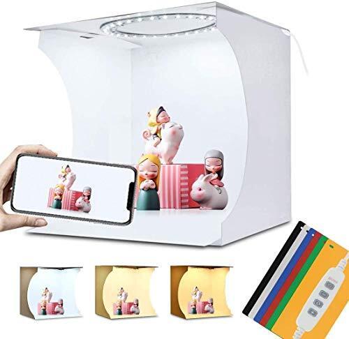 PULUZ 2020最新版 撮影ボックス LEDリングライト付き ライト64PCS、折りたたみポータブル撮影ブース 6色背景(黒、白、黄、赤、緑、青)3色モード調光 簡易スタイジオ 24cm x 23cm x 22cm (20cm)