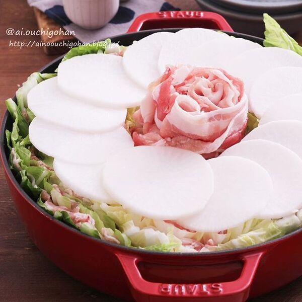 豚バラ大根と白菜の中華風ミルフィーユ鍋