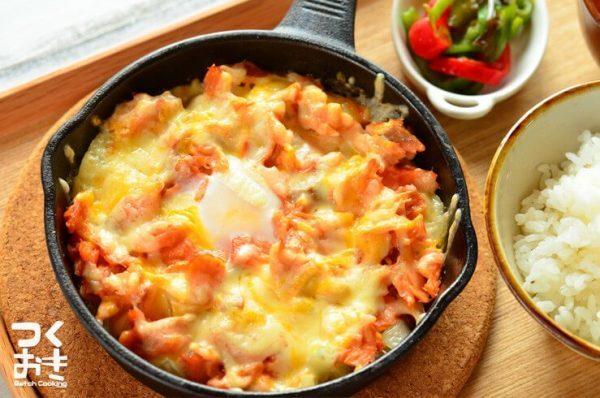 魚レシピ!ほぐし鮭の玉ねぎチーズ焼き