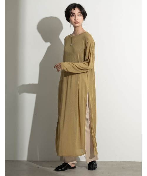 [Re:EDIT] [2020A/W COLLECTION][低身長向けSサイズ対応]シアーニットソーロングスリットワンピース