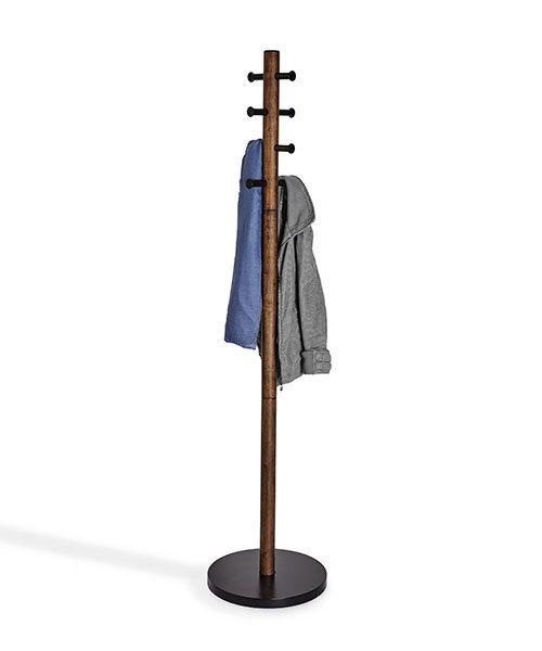 ウォルナット色のポール式ハンガーラック