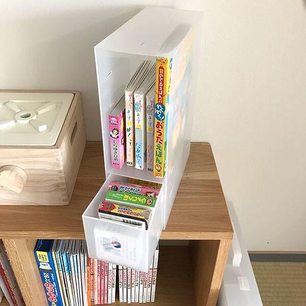 ポリプロピレン小物収納ボックスを使った絵本収納