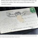 消印は1920年! 100年前に投函されたハガキが届く(米)