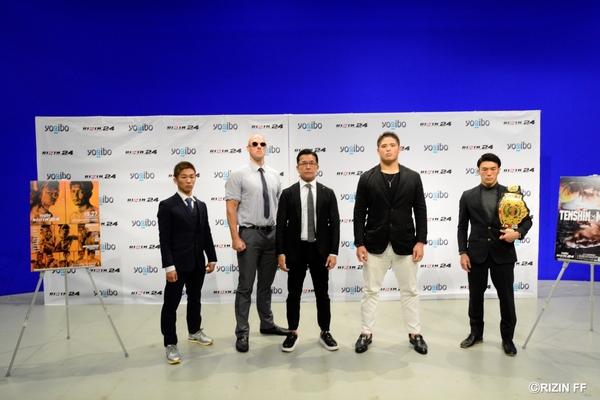 榊原信行CEO(中央)、スダリオ剛(右から2人目)、ディラン・ジェイムス(左から2人目)、江幡睦(右)、良星(左)の4名が登壇