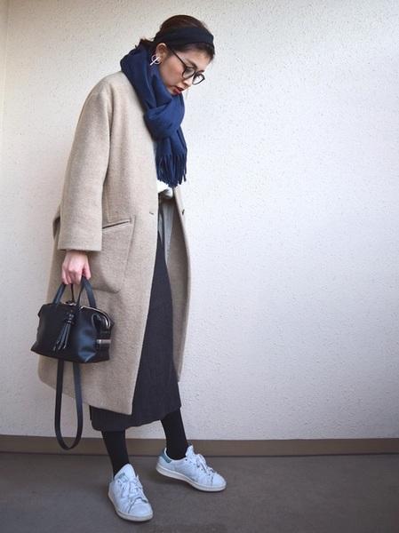 スタンスミス×タイトスカートの冬コーデ