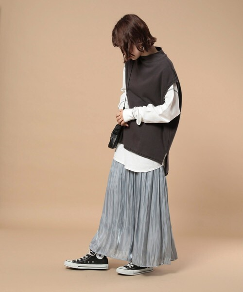 [FREAK'S STORE] シャイニープリーツスカート(ニュアンスカラー)