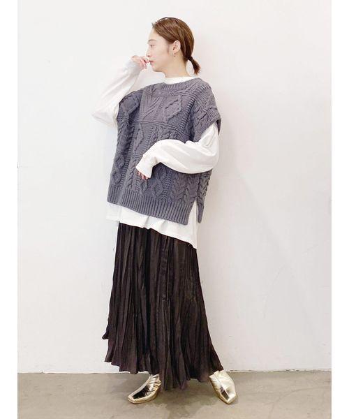 [Ungrid] ランダムプリーツマキシスカート