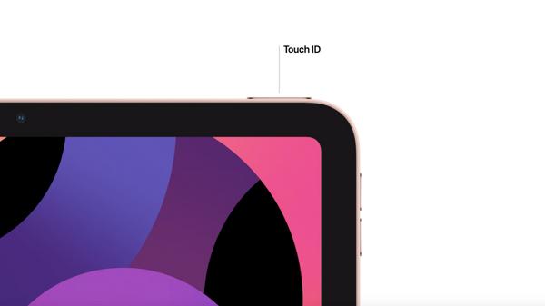 iPad Air上部の電源ボタンにあるTouch ID