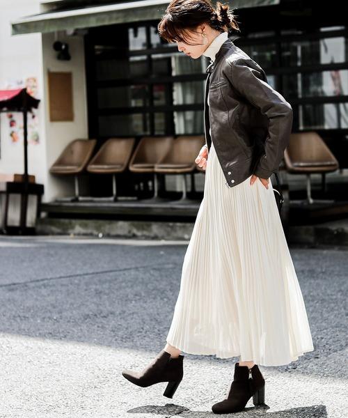 [Fashion Letter] レザー シングルライダースジャケット ライトアウター