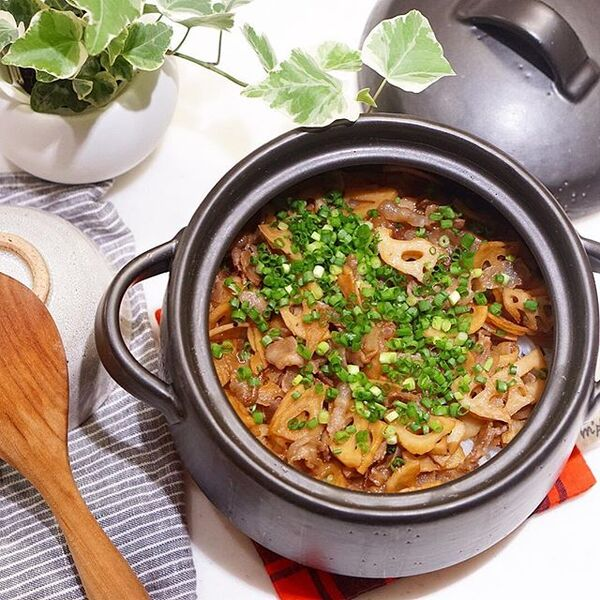 手抜きで簡単。豚バラとレンコンの混ぜご飯