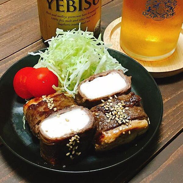 晩ご飯のメインのおかずに。豆腐の牛肉巻き