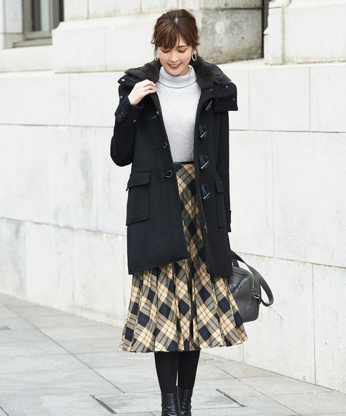 ラビットファーコートの服装