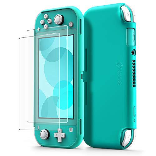 Nintendo Switch Lite対応 tomtoc シリコン 保護ケース + 強化ガラスフィルム 2枚 セット 液体シリコン 任天堂 スイッチ ライト カバー 保護ケース 耐衝撃 傷つけ防止 快適な手触り 着脱簡単 ターコイズ