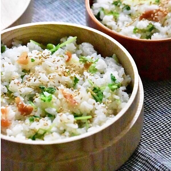 簡単レシピ。豆苗と梅干しの混ぜご飯