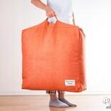 実用性と収納性が合体した「クッションになる収納袋シリーズ」の『かけ布団がクッションになるふとん収納袋』をおためし! その便利さを体感してみた
