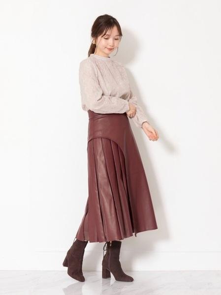 [JILLSTUART] ◆ブロックフェイクレザースカート