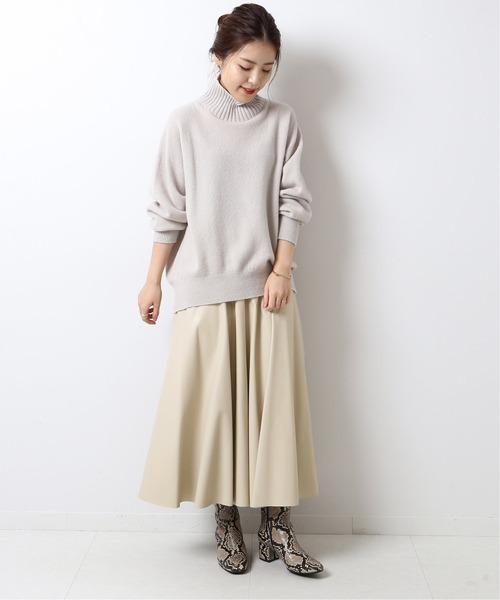 [Spick & Span] フェイクレザーフレアースカート◆