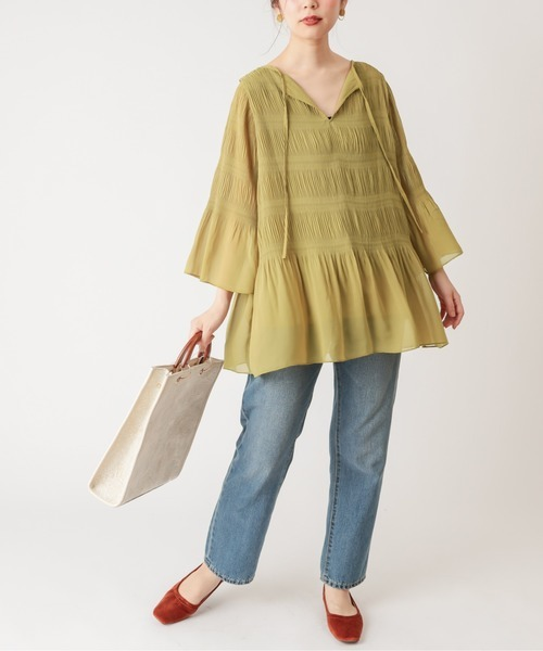 [natural couture] 【WEB限定】マジョリカプリーツ2WAYチュニック