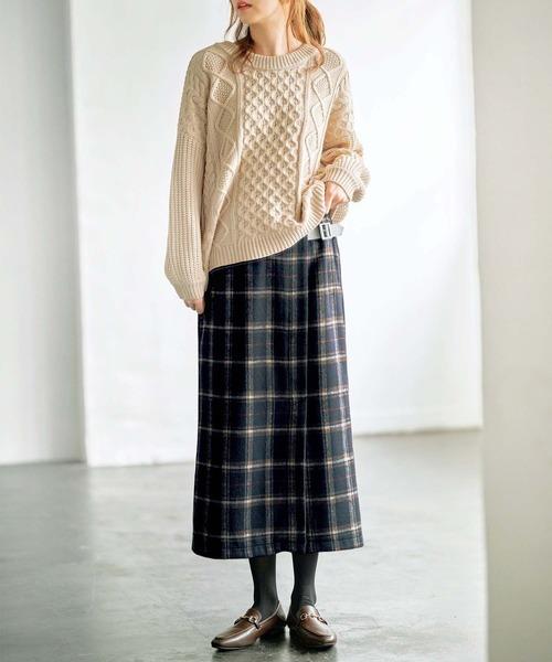 [GeeRA] 【20冬新着】チェック柄ロングスカート