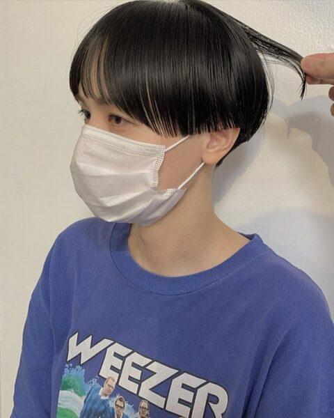 ワイドバング×ショート【黒髪】5
