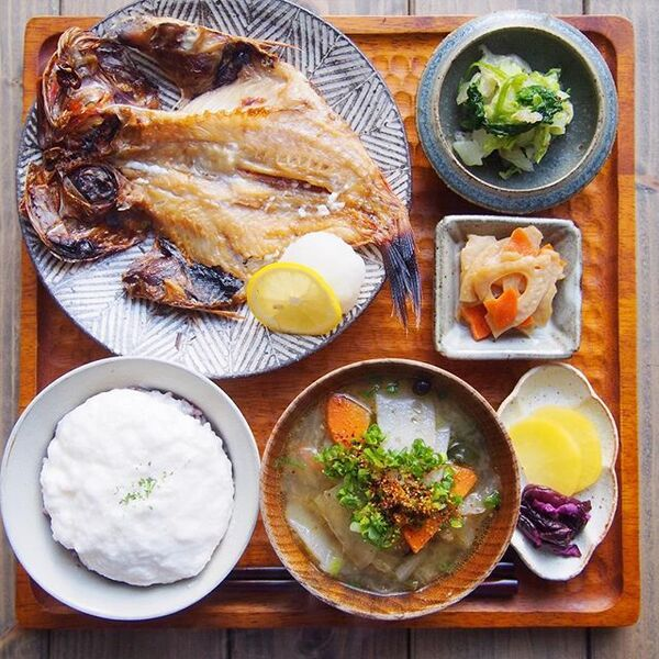 朝食におすすめ!とろろご飯と金目鯛の干物