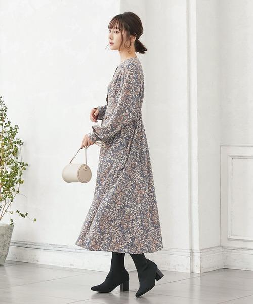 [kobelettuce] 小花柄ロングワンピース