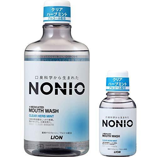 【Amazon.co.jp限定】 NONIO(ノニオ) [医薬部外品] マウスウォッシュ クリアハーブミント 洗口液 600ml  ミニリンス80ml