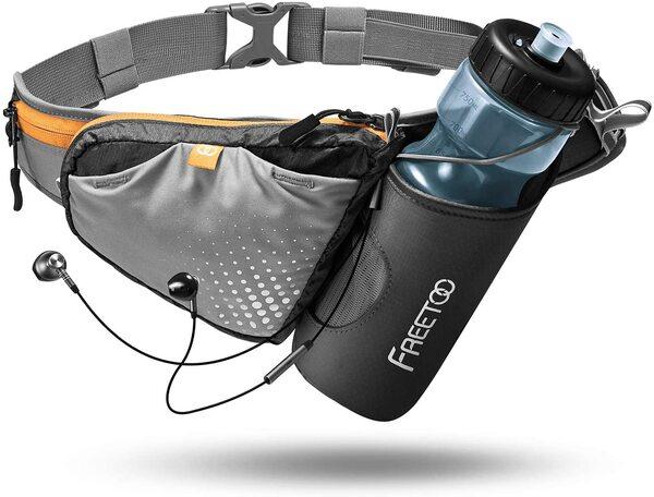 FREETOO ランニング バッグ ペットボトル ホルダー付き ウェストポーチ ウォーキングバッグ ジョギングポーチ 登山 遠足 夜間ウォーキング サイクリング ランニング・ジョギング 旅行 レジャー等活用 軽量 収納伸縮可能 装着感抜群 男女兼用