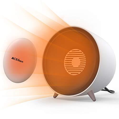 ACEIken ファンヒーター 小型 卓上 セラミックファンヒーター 取り外しカイト付き 消し忘れ機能 安全転倒OFF機能 過熱防止 温風&自然風モード 足元ヒーター 静音 暖房器具 (ホワイト)