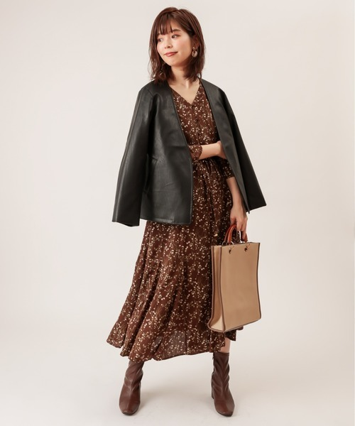 [natural couture] フェイクレザーおしゃれノーカラージャケット