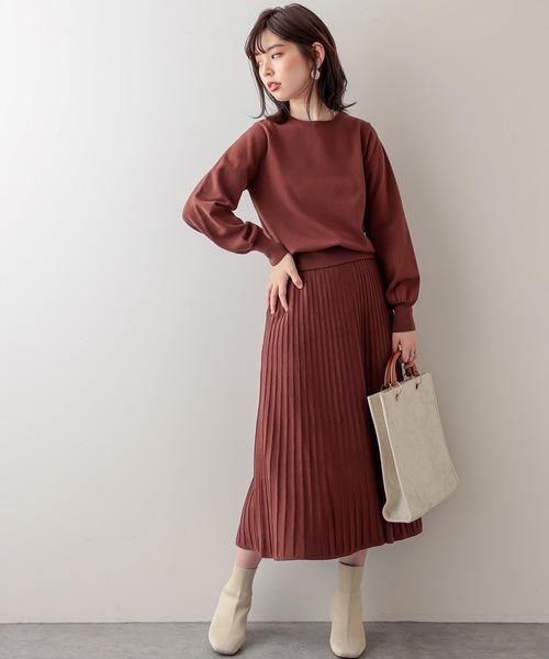 [natural couture] バックパールニットプルオーバー