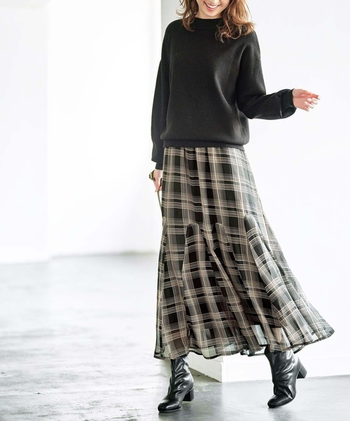 [GeeRA] 【20秋冬新着】切替フレアーロングスカート