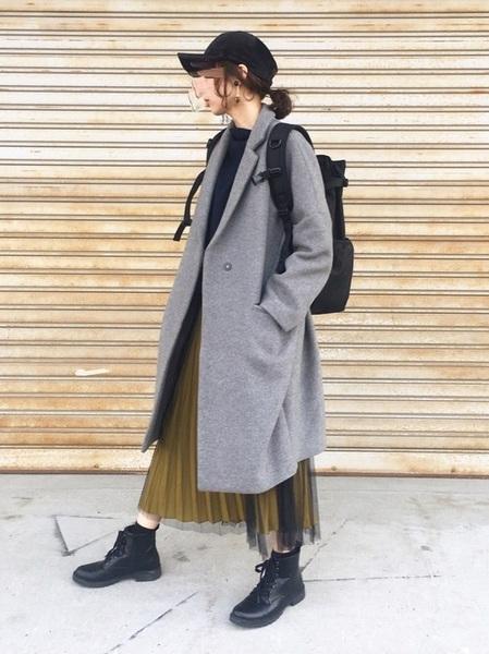 黒リュック×チュールスカートの冬コーデ
