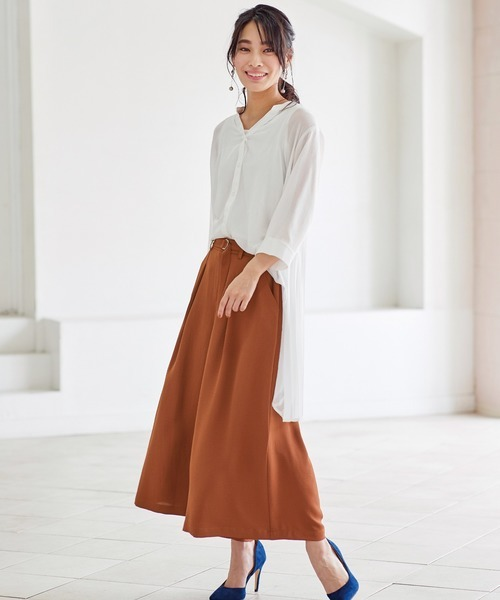 BELLUNA PLUS ビンテージ素材ベルト付スカーチョ