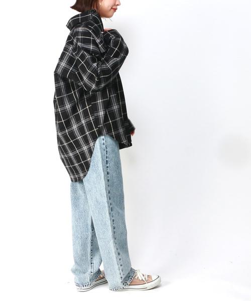 [VENCE share style] バックパッチチェックシャツ