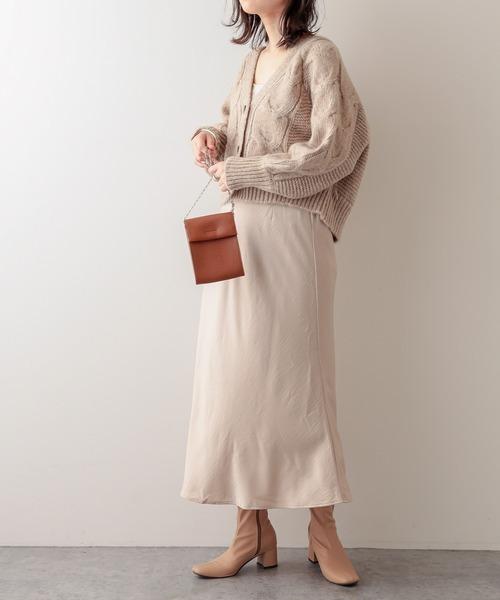 [natural couture] 【WEB限定】バックリボン杢もくショートカーディガン