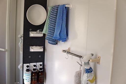 マグネット式のモノを取り入れた浴室の収納