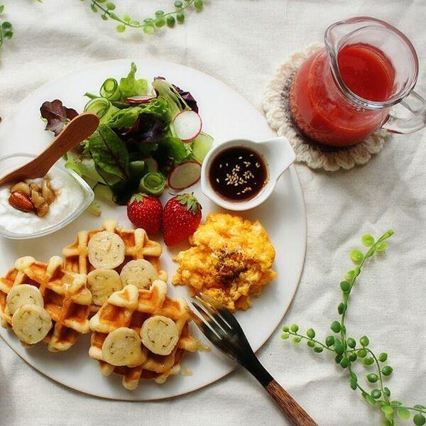 おしゃれな朝食を実現♪人気のワッフル