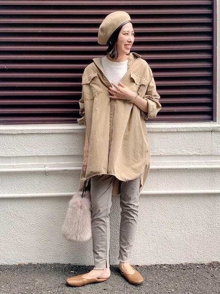 シャツジャケット×スキニーパンツの冬コーデ