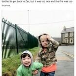 火災で息子2人の腕を掴み救出したはずの父親、息子1人を亡くす(英)