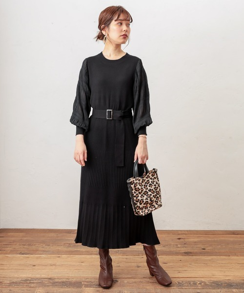 [natural couture] 【WEB限定】マジョリカスリーブニットワンピース