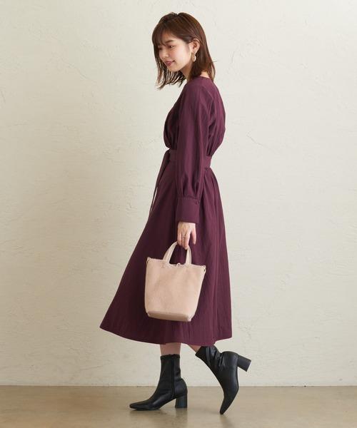 [natural couture] 配色パイピングカシュクールワンピース
