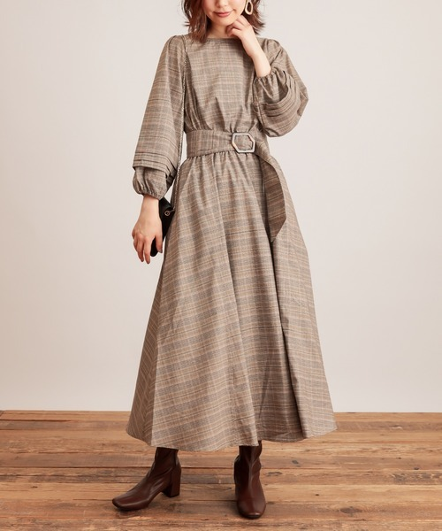 [natural couture] 【WEB限定】ボリュームタック袖2WAYワンピース