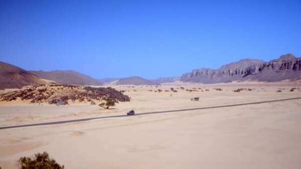 Roadway in the Algerian Sahara.