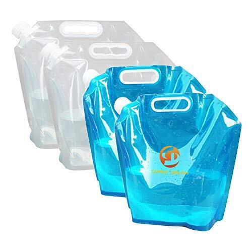 非常用給水バッグ 避難 防災グッズ ウォーターバッグ 非常用給水袋 折りたたみ式ポータブル水袋 大容量 貯水 4個セット5L / 10L (10L×4)
