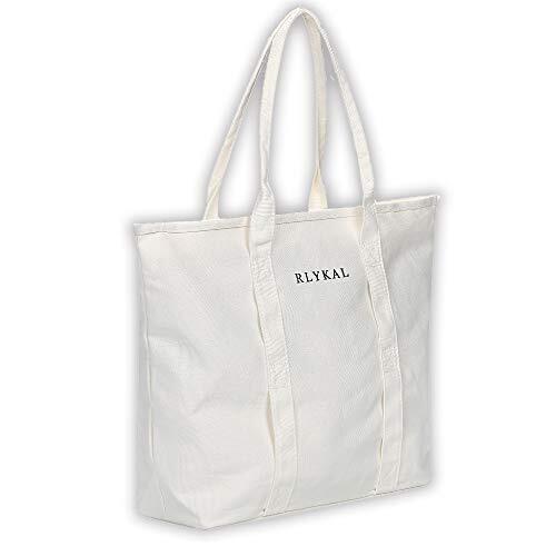 RLYKAL エコバッグ トートバッグ 買い物バッグ 買い物袋 キャンバストート 人気 大容量 レディース 無地 帆布 メンズ 軽量 おしゃれ かわいい ファスナー付き (トートバッグ, ホワイト)