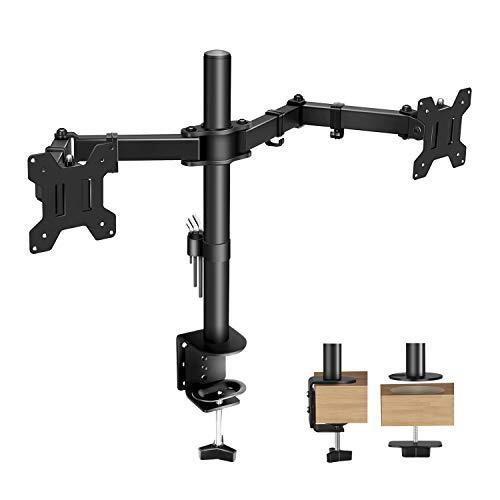 モニターアーム デュアル 2画面 PC液晶ディスプレイアーム クランプ式 水平3関節 高さ調節 角度調節 360°回転可能 縦横両用 耐荷重10kg VESA規格対応LYIYI