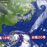 1日 日本海から次の雨雲 南には猛烈な台風19号と20号の発達した雲