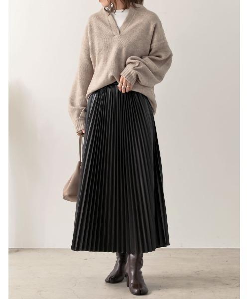 [Re:EDIT] [低身長向け/高身長向けサイズ対応]ヴィーガンレザープリーツロングスカート